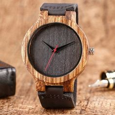 Cheap madera, Buy Quality madera natural directly from China madera reloj Suppliers: Luxury Unique Wood Watch Men's Black Genuine Leather Bracelet Wrist Watch Male Nature Bamboo Quartz Watch Reloj de madera Amazing Watches, Cool Watches, Men's Watches, Analog Watches, Wrist Watches, Watches Online, Wooden Watches For Men, Skeleton Watches, Top Gifts