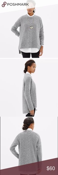 Madewell Easy Cable Knit Pullover Sweater Gray $98 Madewell Easy Cable Knit Pullover Sweater in Donegal Gray Sz M  PRODUCT DETAILS Perfectly slouchy with drop sleeves and a curved hem, this is our dream version of a classic cable sweater. Made to layer over leather leggings or skinny jeans.  Slightly oversized. Lambswool/cotton/nylon/cashmere. Dry clean. Import. Madewell Sweaters
