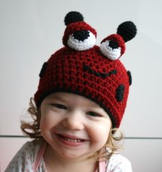 Baby Crochet hat pattern ladybug halloween by LuzCrochetPatterns, $4.99