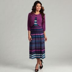 @Overstock - A stylish stripe highlights this scoop neck dress from Julian Taylor. A 3/4-legnth sleeve jacket finishes this fashionable dress.http://www.overstock.com/Clothing-Shoes/Julian-Taylor-Womens-Iris-Purple-2-piece-Dress/6523101/product.html?CID=214117 $58.99