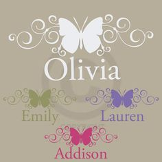 SCROLL BUTTERFLY NAME wall decal girl bedroom by LivelyLettering