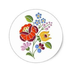 Kalocsa Embroidery - Hungarian Folk Art Classic Round Sticker #mothersday #crafting