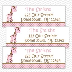 Baby Giraffe Pink - Personalized Address labels, Stickers, Baby Shower by sharenmoments on Etsy