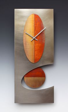 Steel 24 Oval Pendulum clock by Leonie Lacouette: Metal Clock - Artful Home from Artful Home. Saved to Clock to Me. Cat Clock, Clock Art, Unique Clocks, Cool Clocks, Pendulum Clock, Metal Clock, Modern Clock, Wall Clock Design, Fused Glass