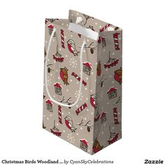 Christmas Birds Woodland 'Home For The Holidays' Small Gift Bag @zazzle