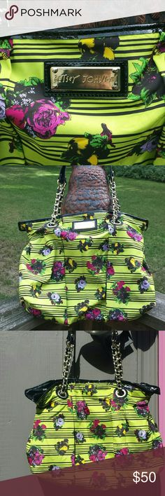 Betsy Johnson Rose Pattern Nylon Bag Betsy Johnson Green Rose Pattern Nylon shoulder bag with chain straps and patent leather.  Great condition Bags Totes
