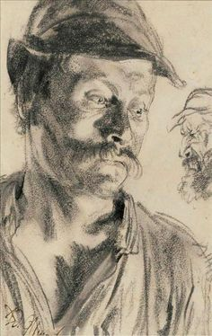 Adolph Von Menzel Head Of A Workman, Study For 'Iron Rolling Mil… Adolph Von Menzel Head Of A Workman, Study For 'Iron Rolling Mill' x cm) Painter Artist, Portrait Drawing, Art Sketchbook, Art Masters, Master Drawing, Drawing Sketches, Portrait Painting, Person Drawing, Portrait Art