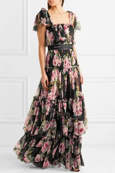 Dolce & Gabbana | Shirred floral-print silk-chiffon gown | NET-A-PORTER.COM