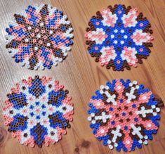 4 Round Perler Bead Coasters by MyDaydreamedDesigns