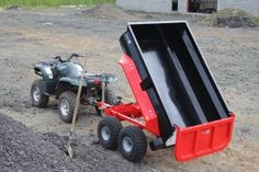 Northern Irish manufacturer Quad-X has revealed a new commercial-spec mini dump trailer designed to be pulled by an ATV or small tractor. A hydraulically Atv Dump Trailer, Atv Utility Trailer, Quad Trailer, Trailer Plans, Trailer Build, Lawn Tractor Trailer, Accessoires Quad, Utv Trailers, Atv Attachments