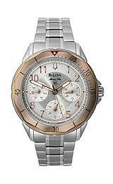 Bulova Women's 96N101 Marine Star Marine Star Watch Bulova. $179.40. Stainless steel case and bracelet. Water-resistant to 50 M (165 feet). Quartz movement. Mineral flat. Silver and white dial. Save 55% Off!