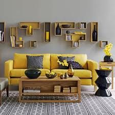 Yellow decor punctuated by gray :::::❥The wall is neat!
