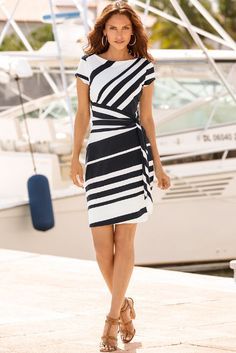 Get your sexy back in this stripe print sheath dress with distinctive side tie. The stylish monochrome stripes create a flattering silhouette. Bold heels and accessories complete your sophisticated look.Navy White Stripe Knot Sheath Dress—If it onl Sexy Dresses, Casual Dresses, Fashion Dresses, Dresses For Work, Short Sleeve Dresses, Shift Dresses, Office Dresses For Women, Dress Outfits, Sheath Dress
