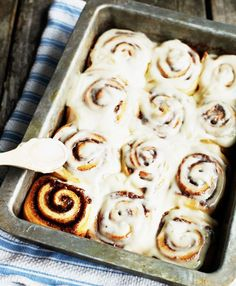"""Cinnamon Rolls... Verdict = cinnamon """"gooyness"""" goodness  It's a WINNER...  Remember to make half the cinnamon mixture and frosting for our taste!"""