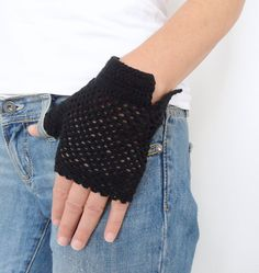 Black Fingerless Gloves Cotton Mittens by bysweetmom on Etsy