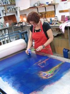 Bronwen Findlay inking up for a large monotype.