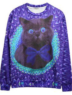 Blue Dip Dye Bowknot Cat Print Round Neck Sweatshirt US$27.50