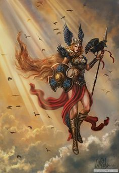 Love the color on this one | Fantasy Fine Art Print Norse Warrior Valkyrie by CarolPhillipsArt