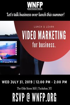 #Summer Lunch & Learn #Networking Event: #VideoMarketing for #Business  Use video marketing to raise your company brand awareness, engage with customers and increase sales.    Limited seats. Early bird discounts with online registration. Lunch provided.  #lunchandlearn