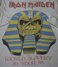 IRON MAIDEN vintage 1984 tour t-shirt - DISTRESSED heavy metal rock concert 80s