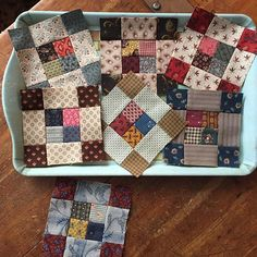 No photo description available. 4 Patch Quilt, Strip Quilts, Scrappy Quilts, Easy Quilts, Small Quilts, Mini Quilts, Quilting Projects, Quilting Designs, Modern Quilt Blocks