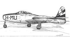 RNoAF 338 sqn. F-84 ink pointillism Pointillism, My Drawings, Ink, Blue, India Ink