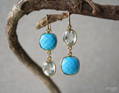 Turquoise & Prasiolite Earrings Perfect Gift for Mothers Day by ATELIERGabyMarcos, $129.00