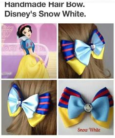 Shop for disney on Etsy, the place to express your creativity through the buying and selling of handmade and vintage goods. Ribbon Hair Bows, Girl Hair Bows, Bow Hair Clips, Ribbon Flower, Disney Hair Bows, Hair Bow Tutorial, Headband Tutorial, Diy Headband, Flower Tutorial