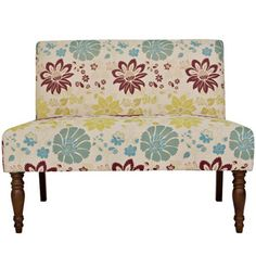 angelo:HOME™ Bradstreet Settee in Spring Sandstone Beige and Blue Floral