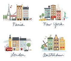 Cityscape illustrations of Paris, New York, London and Amsterdam - petite alma Art And Illustration, City Poster, Paris New York, Buch Design, Silkscreen, Travel Posters, Doodles, Typography, Tumblr