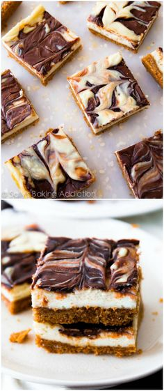 So good! Creamy cheesecake bars on a simple graham cracker crust with a thick Nutella swirl.