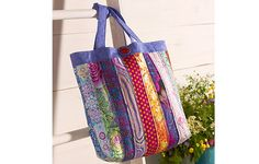 Free patchwork and sewing tote bag pattern from Kaffe Fassett Classics cotton fabric collection from Rowan Fabrics