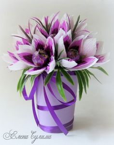 All purple flowers are beautiful and with meanings of their own. Beautiful purple flowers for your garden Paper Flower Art, Crepe Paper Flowers, Flower Crafts, Candy Flowers, Diy Flowers, Handmade Flowers, Flower Ideas, Purple Flowers, Candy Arrangements