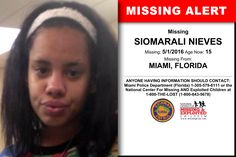 SIOMARALI NIEVES, Age Now: 15, Missing: 05/01/2016. Missing From MIAMI, FL. ANYONE HAVING INFORMATION SHOULD CONTACT: Miami Police Department (Florida) 1-305-579-6111.