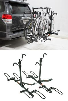 A bike rack that is truly a 3 in 1. Accommodates different length bikes - cushioned hooks and sliding wheel hoops carries most bike styles.