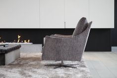 Byron & Jones Interiors - Flexform - Boss Armchair - Carpet - Fireplace