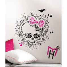These spooky and sweet black, pink, and white Monster High wall decals will drive fans wild. These fun wall stickers can be applied to any smooth surface, and are fully removable and repositionable without damage or sticky residue.