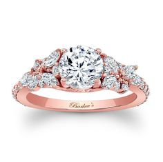Ladies Barkev's Pink Gold Semi Mount Engagement Ring with Flower Design Riddle Jewelers