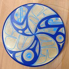 """Whorl Pool 14"""" Drum  Acrylic, Deer Skin  Collection of Rachael Askren, Metlakatla, Ak  November 2013"""