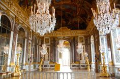 The Hall of Mirrors is the central gallery of the Palace of Versailles in Versailles, France.