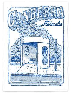 canberra bus stop teatowel Visit Australia, Australia Travel, Bus Stop, Tea Towels, Nostalgia, Create Yourself, Illustration, Style, Aussies