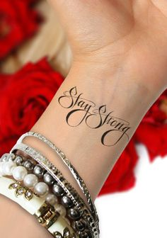 Stay Strong SET of 2  Temporary Tattoo in black ink by TattooMint