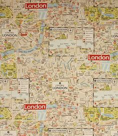 Unusual fabric depicting a map of London. This double width fabric is an ideal curtain material, especially for larger windows as less joins are necessary. Buy this fabric online or visit one of our fabric shops in the heart of the Cotswolds, where you can view a wide range of designer clearance fabrics at discount prices along with our regular lines.