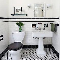 Ore Studios - bathrooms - powder room, black and white powder room, black and white tiles, black and white backsplash, black and white floor...