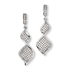 .925 Sterling Silver CZ Dangle Swirl Earrings Jewelry Available Exclusively at Gemologica.com
