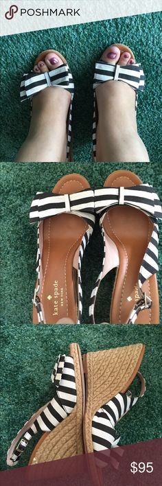 Kate spade striped boardwalk wedges Originally $150 purchased from retail store. They are a little high for me. I think I only wore them once or twice in good condition super cute kate spade Shoes Wedges