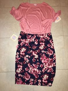 LuLaRoe Cassie Pencil Skirt Size 3XL Navy With Pink / Lavender Flowers 2XL New #LuLaRoe #StraightPencil