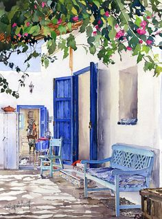 Blue Doors Painting by Margaret Merry