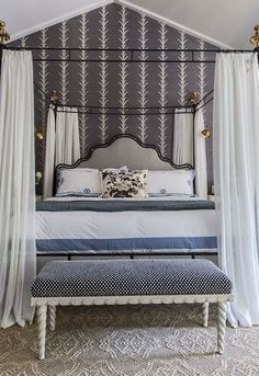 Yummy wallpaper in the bedroom. via Elements of Style Blog | Is Brown Back | http://www.elementsofstyleblog.com
