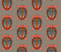 Turtles Red Toast fabric by grapesky on Spoonflower - custom fabric